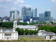 Summer 2014: Greenwich facing towards Canary Wharf
